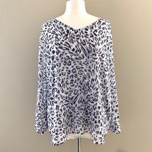 NWOT Cabi Glamour Leopard Print Blouse Sz Large